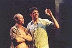 BOB  LARSON - Bosom Buddies: Kerouac (Michael Janes) accepts a - gift from Cassady (Rod Gnapp).