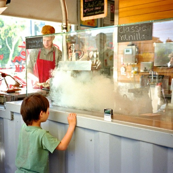 Both kids and adults are entranced by Smitten's fancy nitrogen ice cream maker. - FLICKR/CBOWNS
