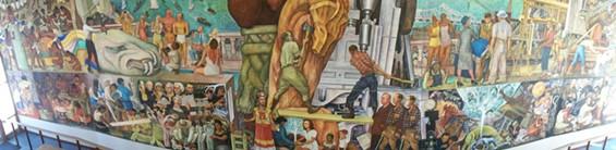 """Bottom Half Panorama of Diego Rivera's SF Mural: """"Pan American Unity"""" - JUAN DE ANDA/ SF WEEKLY"""