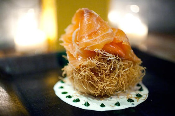Bouche's cured salmon with poached egg. - LARA HATA