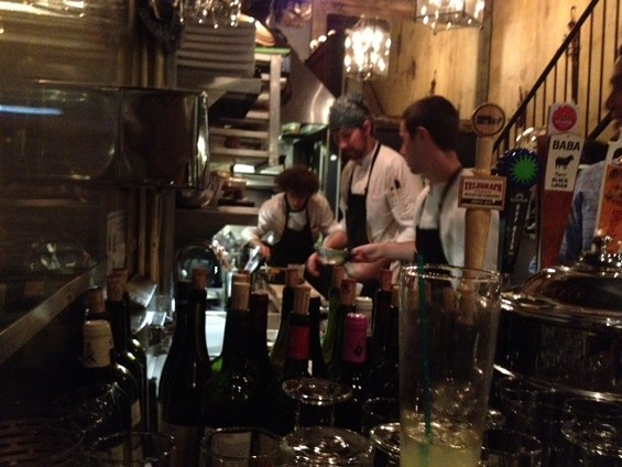 Bouche's Nicolas Borzee and crew in the not-so-spacious kitchen. - TAMARA PALMER