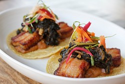 ANNA LATINO - Braised pork belly tacos have all the fatty satisfaction of thick-cut bacon.