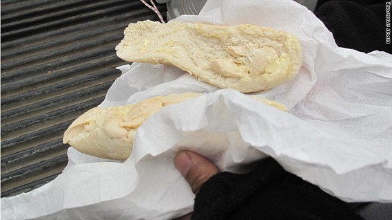 Bread roll ready to send down the 4-inch bore hole to the miners. But no beans, please. - ESPRIT SMITH/CNN