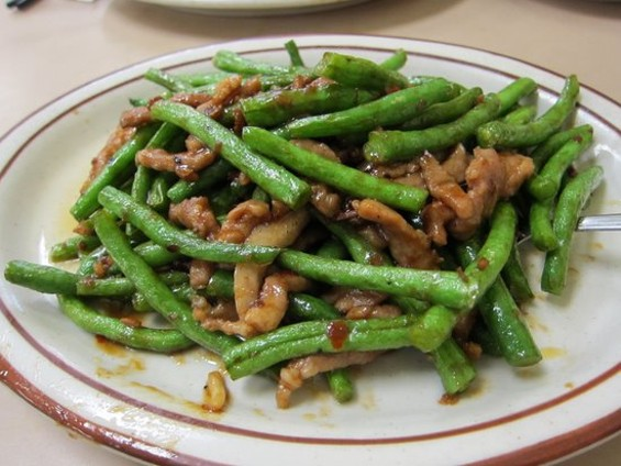 Broadway Cafe's green beans with XO sauce, $6.50. - W. BLAKE GRAY