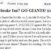 Broke Giants Fan Will Buy You Dinner and A Beer in Exchange for a World Series Ticket