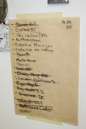 Brown's impressive (and intimidating) daily prep list. - ALEXIS KATSILOMETES