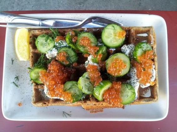 Buckwheat waffle with creme fraiche, cucumber and salmon roe - PETE KANE