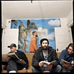 "Built to Spill's Doug Martsch (center): ""I've - never been that interested in promotion or - publicity. I don't want to be as famous as - Modest Mouse."""