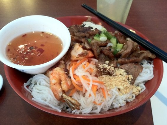 Bun with grilled pork and shrimp at Pho Vung Tau, $6.25. - JONATHAN KAUFFMAN