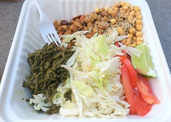 Burmese Gourmet's powerful tea leaf salad, $5. - JONATHAN KAUFFMAN