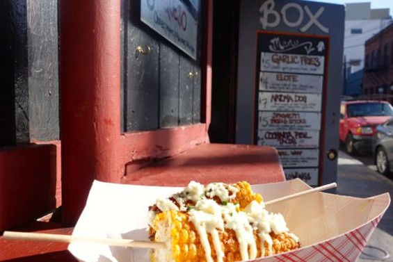 Captions: The elote at Box Kitchen inside the Tempest in SOMA. - FERRON SALNIKER