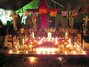 Cemetary in Oaxaca, Mexico, decorated for Dia de los Muertos. - LOU BUSTAMANTE