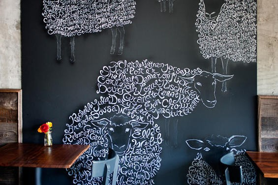 Chalk mural at Mission Cheese. - LARA HATA