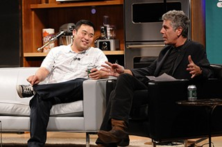 Chang (left) with Anthony Bourdain, during the N.Y. appearance that gave rise to Fig-gate. - NEW YORK CITY WINE AND FOOD FESTIVAL/FLICKR