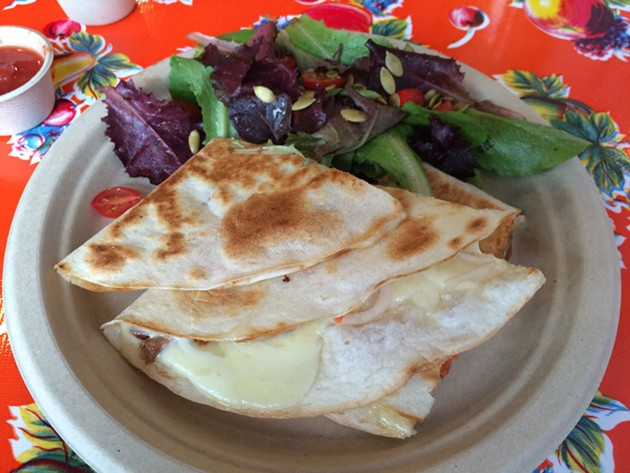 Char siu pulled pork quesadilla, and the busiest tablecloth of all time. - PETE KANE