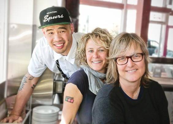 Chef Tu David Phu, Dana Oppenheim and  Rachel Herbert. - COURTESY PRECITA PARK CAFÉ