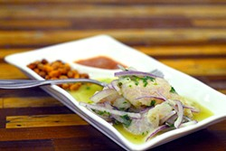 PHOTOGRAPHS BY EVAN DUCHARME - Chef Yeral Caldas makes his excellent ceviche