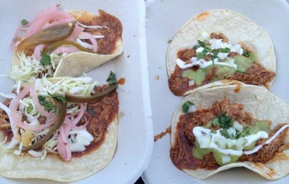 Chicken and pork tacos were pretty much undistinguishable. - ANNA ROTH