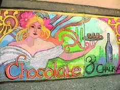 """Chocolate & Chalk Art"" Art Nouveau Woman chalk art by Natasha Robinson."