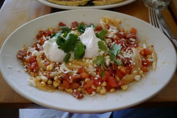 Chorizo polenta with poached eggs