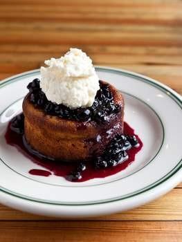 Chucky Dugo's hazelnut-ricotta cake with huckleberry compote. - ALANNA HALE