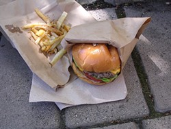JOHN BIRDSALL - Classic burger ($7) with matchbox fries ($2.50).