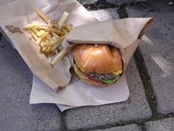 JOHN BIRDSALL - Classic burger ($7) with matchbox fries ($2.50).