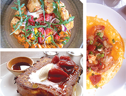ANNA ROTH - Clockwise from top: Guinea hen boudin blanc at Verbena, shrimp and grits at Brenda's, French toast at Nopa.