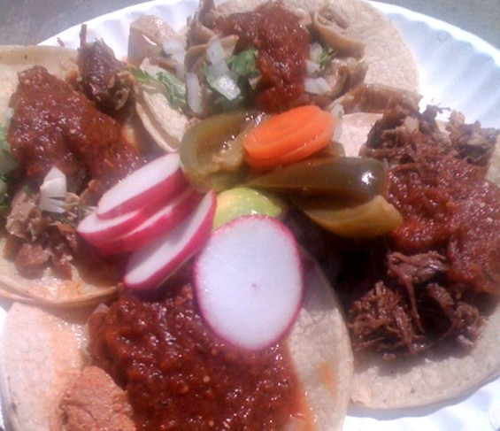 Clockwise from top left: carnitas, buche, cabeza, chicken. - SJSHARKTANK/FLICKR