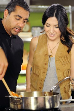 Co-hosts Michael Mina and Michelle Branch. - COOK TASTE EAT