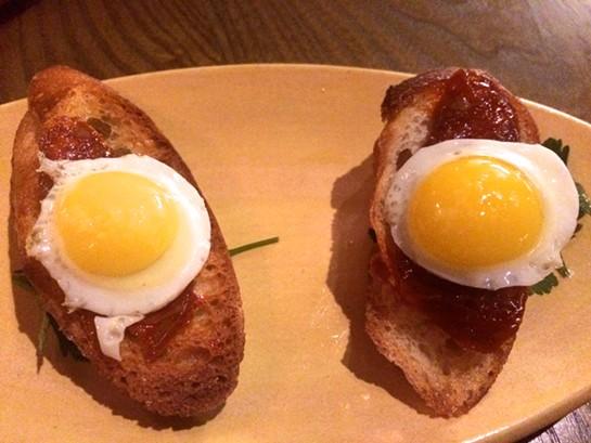 Cojonudo (chorizo and quail egg on toast). - PETE KANE