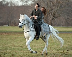 Colin Farrell and Jessica Brown Findlay ride a horse that also flies, because romance.