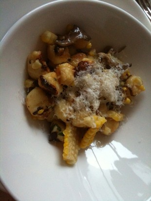 Commonwealth's potato gnocchi with corn, maitake, and Parmesan. - JOHN BIRDSALL