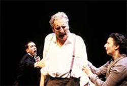 KEN FRIEDMAN - Corey Fischer (center), Traveling Jewish Theatre's co-founder, stars as Willy Loman.