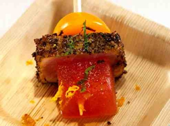 Cosentino's Elimination Challenge dish: Watermelon and tuna bacon with golden tomatoes and pistachios. - BRAVO TV
