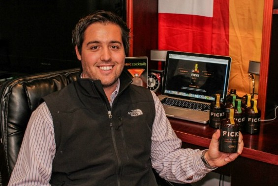 Creator Ron Alvarado with a bottle of Ficks, a cocktail fortifier that gives you vitamins lost while drinking. - RON ALVARADO