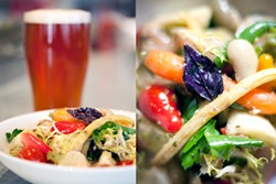 LARA HATA - Creole meets California: Summer vegetable salad with an Abita back.