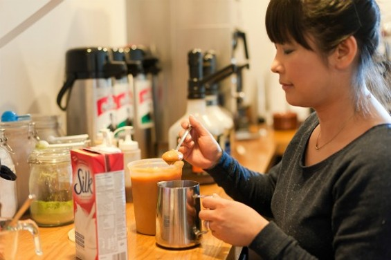 Cristy Hwang uses sweet potato puree to make the latte - PHOTOS BY ALBERT LAW