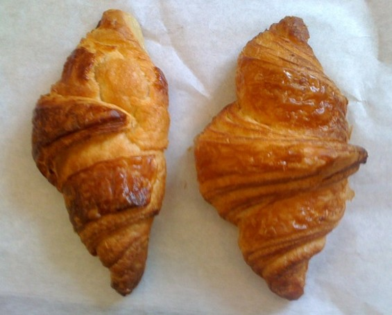 Croissants: Patisserie Philippe (left) vs. Sandbox (right). - JONATHAN KAUFFMAN