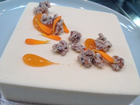 Cube cake of peach, buttermilk, lemon verbena, and granola. - TAMARA PALMER