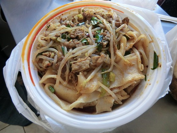 Cumin lamb hand-pulled noodles at Xi'an Famous Foods in New York's Chinatown, a favorite of Mission Chinese Food's Danny Bowien. - ALEX HOCHMAN