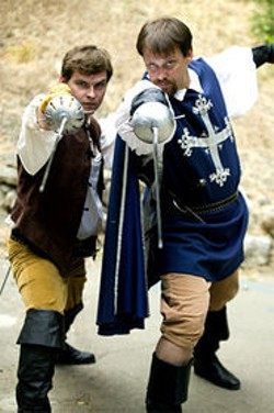 HOWARD GERSTEIN - D'Artagnan (Ryan Montgomery) and Athos (Dave Maier), ready for yet another battle.