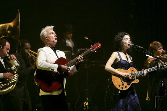 David Byrne and Annie Clark at the Orpheum last night. - CHRISTOPHER VICTORIO