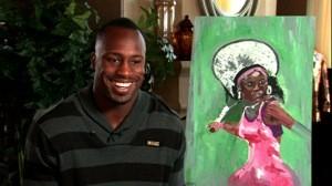 Davis with his painting of Serena Williams. Not bad. - ESPN MAGAZINE