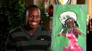 Davis with his painting of Serena Williams. Not bad. - ESPN MAGAZINE