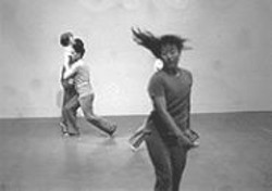 ANDY  MOGG - Debbie Kajiyama (foreground), Kimi Guthrie-Kupers, and Jose Navarette boogie-woogie in June Watanabe in Company's 5/15/45 -- the last dance.