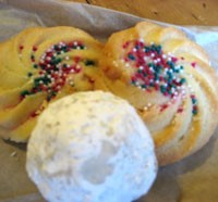 DeLessio's spritz cookies and Mexican wedding cookie.