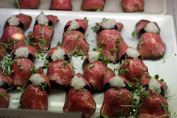 Delica's roast beef nigiri. - FOODLIBRARIAN.BLOGSPOT.COM