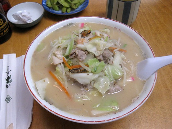 Despite appearances, champon, a noodle soup with roots in Nagasaki, bears little relation to tonkotsu ramen. - LUIS CHONG