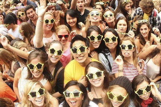 Didn't make our list, but should have: Large group of people wearing free, corporate-branded sunglasses.
